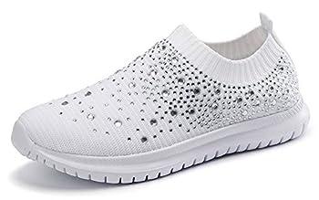 GOSPT Women s Mesh Walking Shoes Rhinestone Glitter Slip On Ballroom Jazz Latin Dance Sock Sneakers White 8