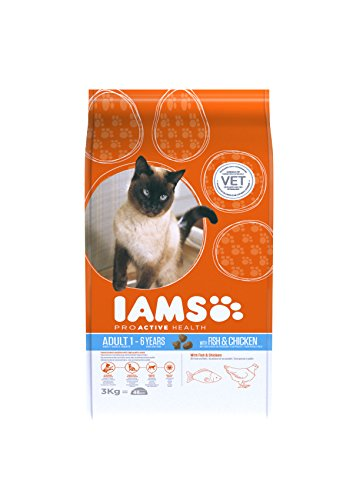 Iams Adult Trockenfutter mit Meeresfisch (für erwachsene Katzen, enthält viel hochwertiges tierisches Protein), 3 kg Beutel