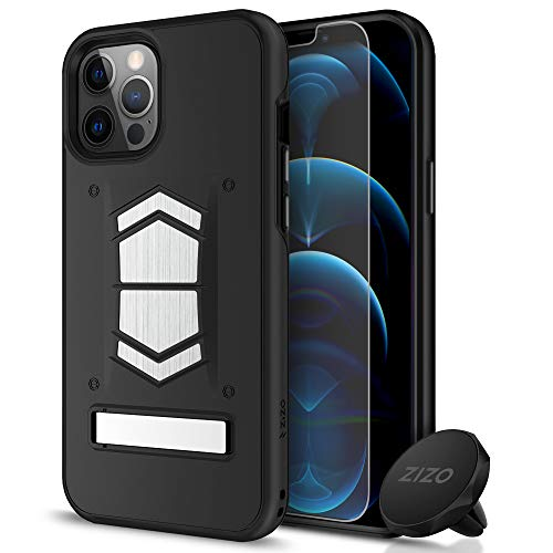 ZIZO Electro Series iPhone 12 Pro Max Case - Kickstand, Screen Protector and Air Vent Mount - Black