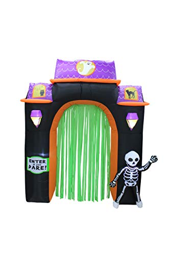 ProductWorks 8-Foot Spooky Town Haunted House Archway Yard Art Décor Inflatable Halloween Display