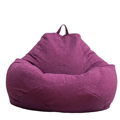 BSMEAN Große Sitzsack-Stühle, Volltonfarbe Sitzsack-Sofabezug-Verstellbarer Outdoor- und Indoor-Liegestuhl für Erwachsene und Kinder ohne Füllung, Lila, L