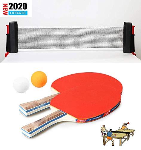 Qinsir Red Portátil De Tenis Mesa Rack Redes Y Postes Juego Red Retráctil Ping-Pong Todo En Uno Vaya A Cualquier Lugar para Jugar El Interior O Al Aire Libre Hogar (2 Raquetas + 3 Pelotas)