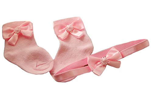 La Bortini Baby Set Haarband Socken SET 50 56 62 68 74 80 86 Stirnband Rosa Strümpfe (56/62)