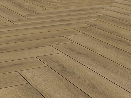Villeroy & Boch Heritage Laminat – Bodenbelag mit realistischem Holzdekor – Fußbodenbelag in stilvollem Fischgrätmuster – Verlegen mit Klick-System – Harmony Oak, edle Eiche