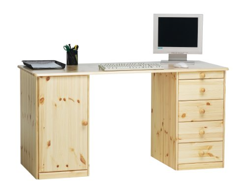 Steens Kent Schreibtisch,  1 Tür, 4 Schubladen, 150 x 77 x 60 cm (B/H/T), Kiefer massiv, natur lackiert