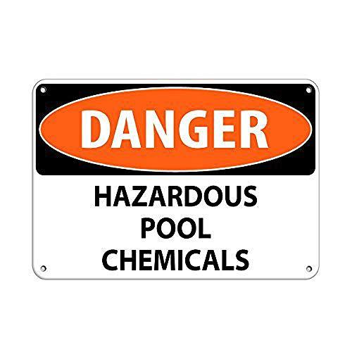 Tarfy Danger Hazardous Pool Chemicals Activity Sign Pool Retro Weinlese-Blechschild-Dekorations-Bar-Kaffee-Café-Nachmittagstee-Grill-Geschäft