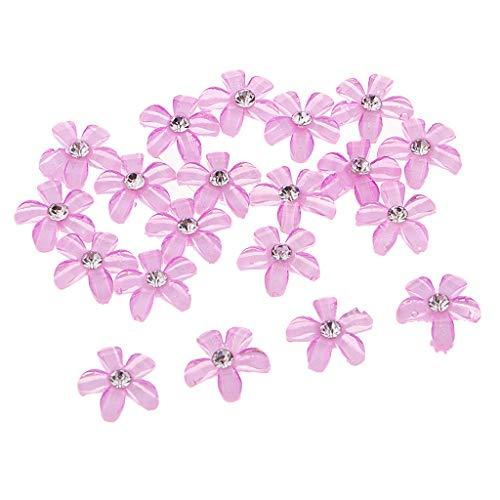 Harilla Adornos de Diamantes de Imitación de Botón Plano con Flores de 20 Piezas para Banquete de Boda - Púrpura