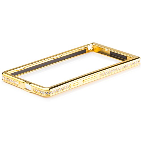 iCues Huawei Ascend P6   Alu Strass Bumper Gold   [Bildschirm Schutzfolie Inklusive] Strass Glitzer Glitter Luxus Bling Damen Frauen Mädchen Chrome CNC Aluminium Metall Metallic Schutzhülle Hülle Cover Schutz