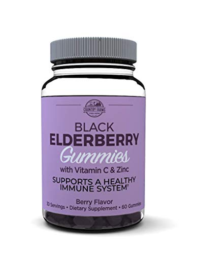 Country Farms Country Farms Elderberry Gummies with Vitamin C and Zinc, Berry Flavor, 60 Gummies, 30 Servings, 60 Count