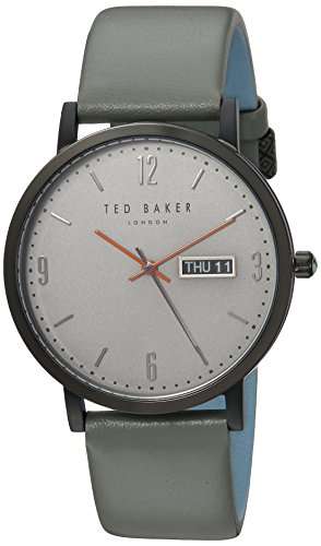 Ted Baker Men's Grant Stainless Steel Quartz Watch with Leather Strap, Grey, 20 (Model: TE15196011)