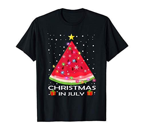Watermelon Christmas Tree Christmas In July Summer Vacation T-Shirt