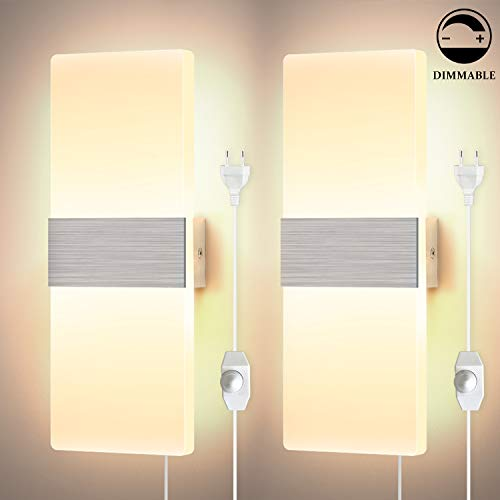 Glighone 2x 12W Wandleuchten LED Innen Modern Dimmbar Wandlampe mit Zuleitung und Schalter Treppenhaus up and down Flurlampe LED Acryl Wandbeleuchtung für Wohnzimmer Korridor Schlafzimmer, Warmweiß