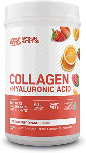 Collagen Peptides Powder By Optimum Nutrition, 20g Hydrolyzed Collagen with Hyaluronic Acid & Vitamin C, Strawberry Orange, 28 Servings, Supports Healthy Skin, Hair & Joints