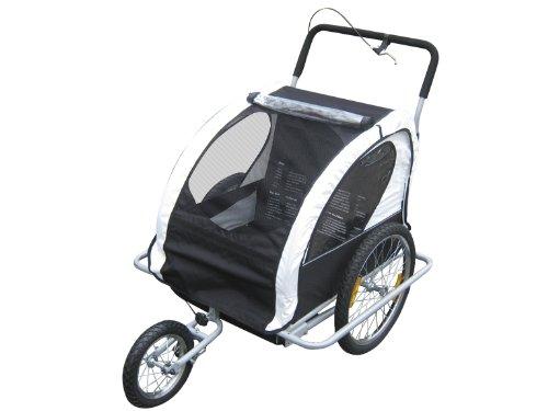 Varan Motors Kinderanhänger 2in 1Convertible als Sportwagen und Jogger für Zwei Kinder, Farbe Weiß/Schwarz