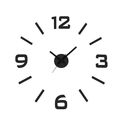 Versa Klistermärke Reloj de Pared Silencioso Decorativo para la Cocina, el Salón, el Comedor o la Habitación, Estilo Moderno, Medidas (Al x L x An) 60 x 3 x 60 cm, Polipropileno, Color Negro