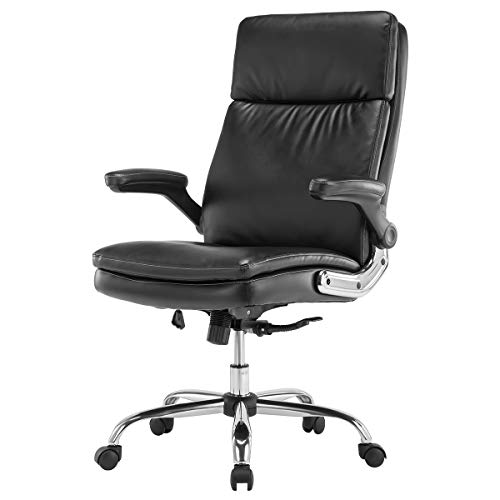 KERMS High Back PU Leather Executive Office Chair, Adjustable Recline Locking Flip-up Arms Computer Desk Chair, Thick Padding and Ergonomic Design for Lumbar Support Black