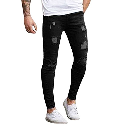 pantalones rotos largos vaqueros Sannysis hombres vaqueros pantalones hippie harem pantalones de deportivos con bolsillos slim fit skinny jeans pantalón tapered para hombre (Negro, M)