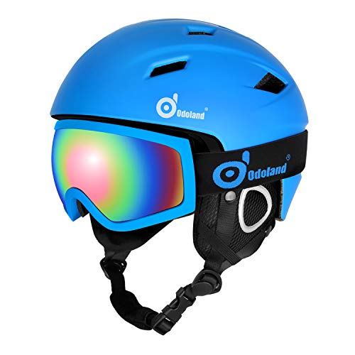 Odoland Ski Helmet with Ski Goggles, Multi-Options Snowboard Helmet and Goggles Set for Men Women Youth and Kids, ASTM Safety Certificated, Blue, Large