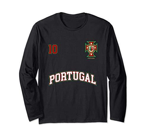 Squadra Calcio Portogallo Numero 10 Bandiera Portoghese Maglia a Manica