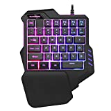 One-Handed RGB Backlit Gaming Keyboard, 35 Keys Mini Gaming Keypad, Portable Game Controller for PC PS4 Xbox Gamer