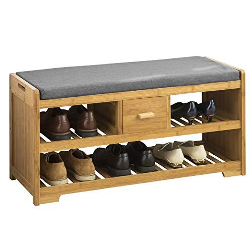 SoBuy FSR75-N Sitzbank mit Stauraum Schuhregal mit 2 Ablagen und Schublade Garderobenbank Schuhbank mit Sitzfläche Belastbarkeit 180kg Bambus BHT ca.: 91x45x34cm