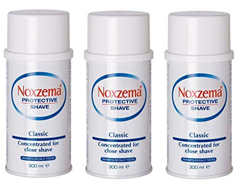 3x noxzema Shaving Foam Cream Jabón de Afeitar Color Blanco Classic Mentol 300ml