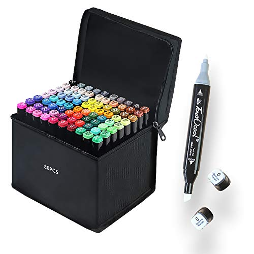 80 Colors Great Quality Markers for Arts and Crafts, Double Tip Drawing Marker for Coloring and Illustration, Bonus 1 Colorless Blender with Carrying Case