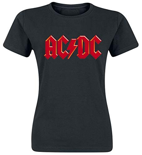 AC/DC Red Logo Donna T-Shirt Nero M 100% Cotone Regular
