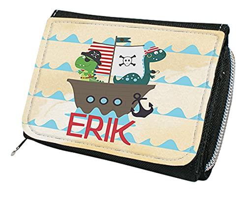 wolga-kreativ Kindergeldbörse Geldbörse Geldbeutel Portemonnaie mit Namen Dino Piratenschiff für Jungen Mädchen personalisiert für Kinder klein Geschenk Geburtstag Einschulung Schultüte Füllung