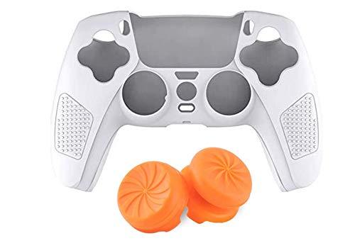 PS5 コントローラー専用 シリコンカバー 保護カバー 滑り止め 耐衝撃 汗防止 GTS 白 [並行輸入品]