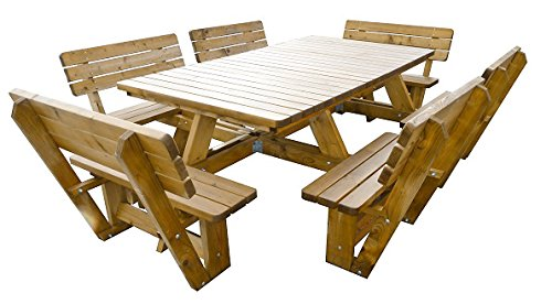 Picknicktisch jumbo 'Luxus' 300 cm lang (12 Personen) inklusive 6 Rückenlehnen, Picknicktisch aus 40 mm FSC Fichtenholz, druckimprägniert