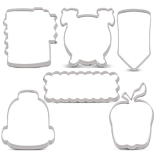 LILIAO Back to School Cookie Cutter Set - 6 Piece - School Bag, Ruler, Apple, Alarm Clock, Note Book and Pencil/Crayon Fondant Cutters - Stainless Steel