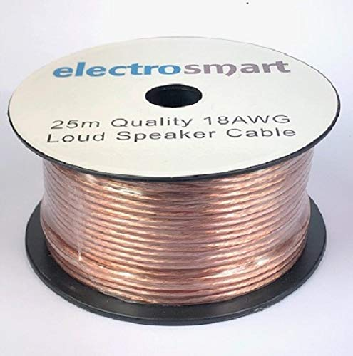 electrosmart 25m Quality 18AWG Loud Speaker Cable - Multi-Strand - Outside Dimensions of Cable: 5mm x 2.5mm
