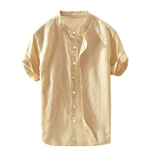 riou Camiseta de Manga Corta para Hombre de Lino para Verano Top Camisa Informal Holgada de Color Liso Camiseta Básica de Moda para Diario Viaje Vacaciones Fiesta Playa con Botones-2021-AAAA