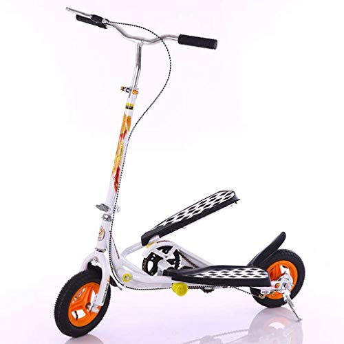 Anchor1 Inflatable Rubber Wheel Teens Pedal Scooter, Foldable Exercise Stepper Scooter Bike for Youngsters, White Color Youth Kick Scooter for Children/Adult