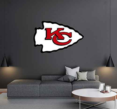 Kansas City Chiefs - Football Team Logo - Wall Decal Removable & Reusable For Home Bedroom (Wide 40