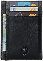 Allen & Mate schlanke, minimalistische RFID Schutz Brieftasche aus Leder, Kreditkartenetui für Herren (Schwarz)