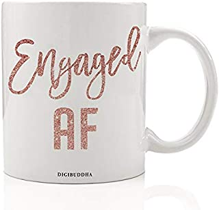 Engaged AF Coffee Mug Gift Idea Bachelorette Engagement Parties from Fiancé Bridesmaids Wedding Attendants Bridal Shower Future Wife Soon-to-Be Mrs. Present 11oz Ceramic Tea Cup Digibuddha DM0426