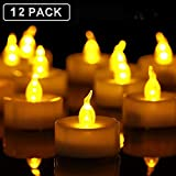 Tea Lights, 12 Pack Flameless LED Tea Light Candles 100 Hours Realistic Flickering