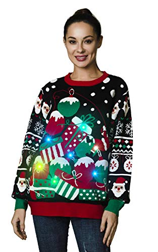 OFF THE RACK Unisex Lustig LED Weihnachtspullover für Damen Strickpullover für Weihnachtsparty Pullover, Jingle All The Way, XXL