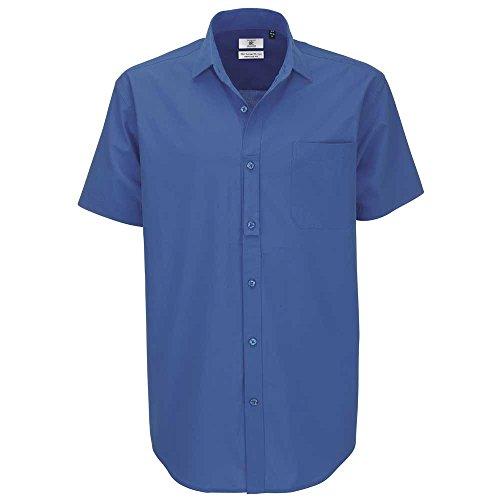 B&C Collection Heritage Short Sleeve Mens Poplin Cotton Smart Formal Work Shirt