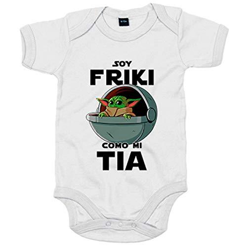 Body bebé soy friki como mi tia ilustración baby yoda - Blanco, 6-12 meses