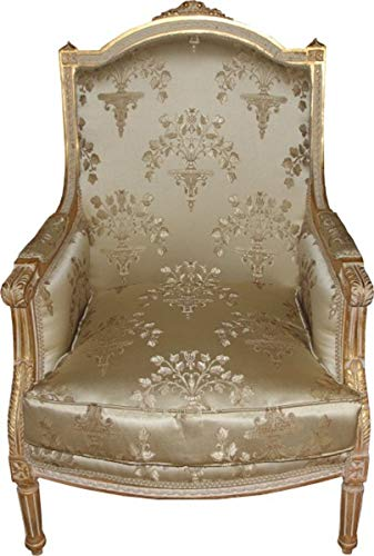 Casa Padrino Barock Lounge Thron Sessel Empire Taupe Muster/Gold - Ohren Sessel - Ohrensessel Tron Stuhl - Limited Edition