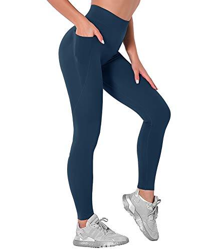 DUROFIT Sportleggings mit Tasche Damen Lang Yoga Leggings Blickdicht Booty Leggings Po Push Up Leggings Sport Thigts Laufhose Fitness Hose High Waist Gym Leggins mit Handytasche