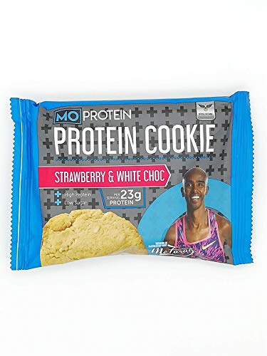 Mo Farah Protein Cookie Strawberry and White Chocolate 75g – Pack of 12 – Packed with Protein for Your Weight Management. Exquisite Taste and Protein. Get Ready for The Next Level