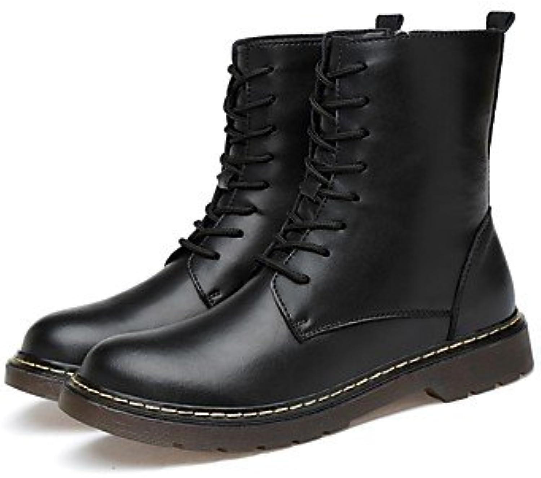 kvinnor skor Real läder Cowhide Nappa Läther Winter Fluff Lining Lining Lining Snow Mode Combat Flat Heel Round  för att ge dig en trevlig online shopping