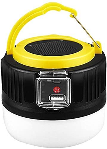 GDYJP Linterna de luz de Camping USB + Control Remoto Recargable Solar DIRIGIÓ Luz de Tienda IP65 Linterna Acampada al Aire Libre Impermeable para Senderismo Camping Emergencias (Color : Yellow)