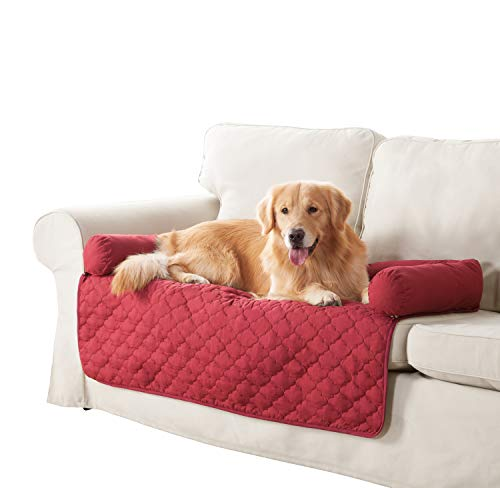 Quick Fit Wubba Reversible Pet Bed Couch Cover for Dogs, 45x34, Garnet-Natural