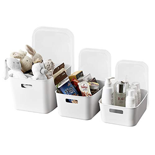 MineSign Set of 3 Plastic Storage Containers with Lids Stackable Kitchen Pantry Cabinet Closet Cosmetic Storage Bins Square Stackable& Pull Organizer Box with Handle for Clothes Bathroom Book Toys