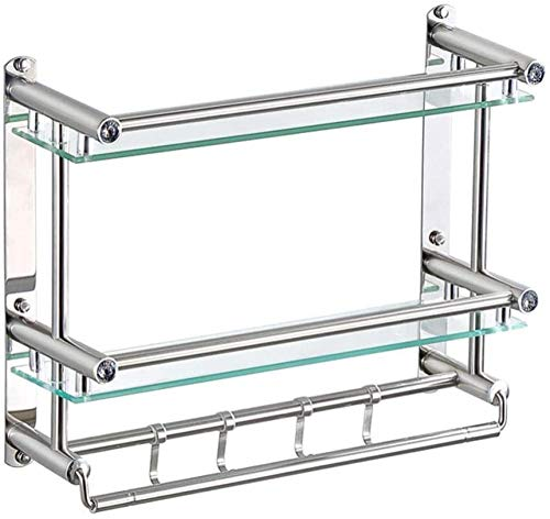 Organizador de Ducha 2 Nivel de Vidrio montado en la Pared Estante de baño de Acero Inoxidable Estantes de estantes de 4 Toallas con ganchos-50 cm Incomparable